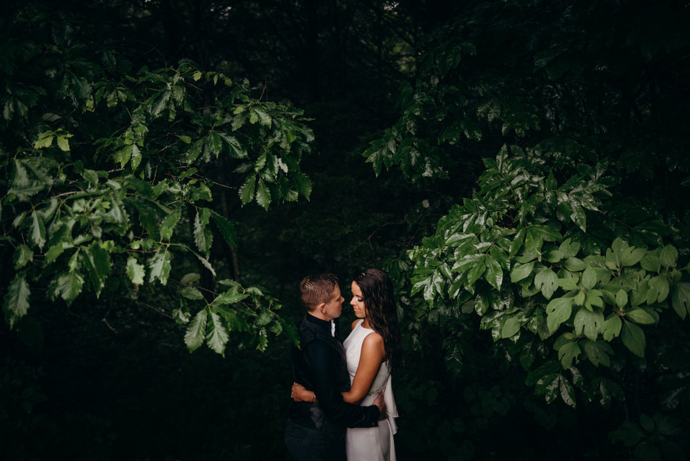 married same-sex couple embracing beneath the trees