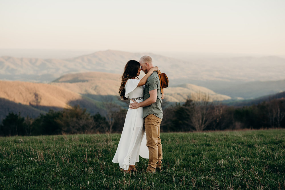 Virginia mountain engagement session Shenandoah valley at sunset